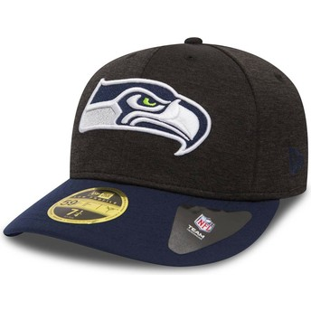 New Era Curved Brim 59FIFTY Low Profile Shadow Tech Seattle Seahawks NFL Stone and Blue Fitted Cap