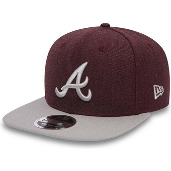 New Era Flat Brim 9FIFTY Seasonal Heather Atlanta Braves MLB Red and Grey Snapback Cap