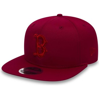 New Era Flat Brim Red Logo 9FIFTY Nano Ripstop Boston Red Sox MLB Red Snapback Cap