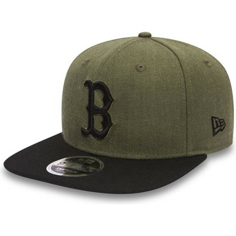 New Era Flat Brim Black Logo 9FIFTY Seasonal Heather Boston Red Sox MLB Green Snapback Cap with Black Visor