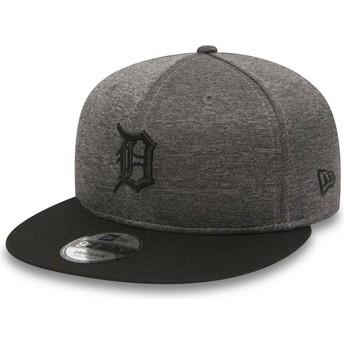 New Era Flat Brim 9FIFTY Heather Jersey Detroit Tigers MLB Stone Snapback Cap with Black Visor