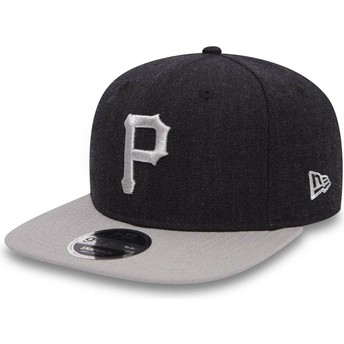 New Era Flat Brim 9FIFTY Seasonal Heather Pittsburgh Pirates MLB Navy Blue and Grey Snapback Cap