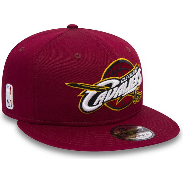 new-era-flat-brim-youth-9fifty-classic-cleveland-cavaliers-nba-red-snapback-cap