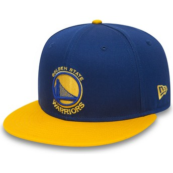 New Era Flat Brim 9FIFTY Golden State Warriors NBA Blue and Yellow Snapback Cap