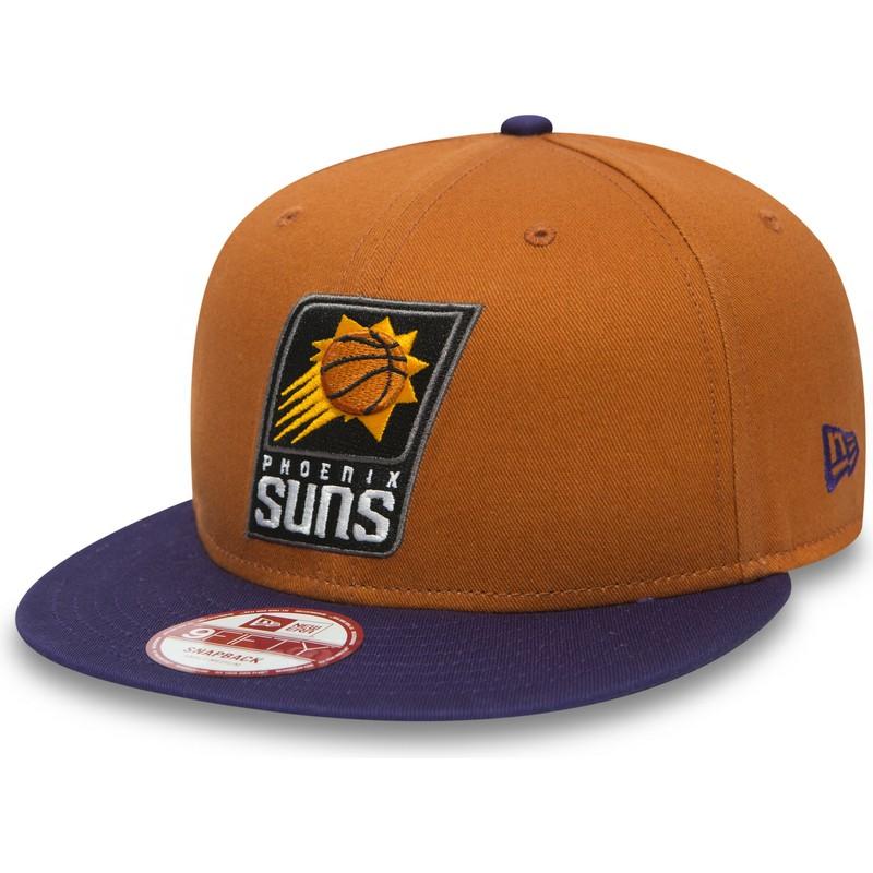 f60d1bef41727 New Era Flat Brim 9FIFTY Phoenix Suns NBA Orange and Purple Snapback ...