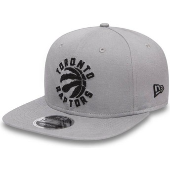 New Era Flat Brim 9FIFTY Chain Stitch Toronto Raptors NBA Grey Snapback Cap