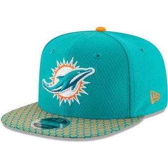 New Era Flat Brim 9FIFTY Sideline Miami Dolphins NFL Blue Snapback Cap