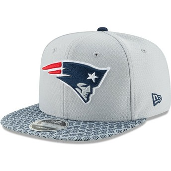 New Era Flat Brim 9FIFTY Sideline New England Patriots NFL Grey Snapback Cap