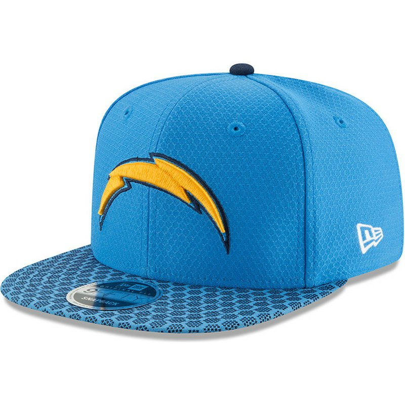 New Era Flat Brim 9FIFTY Sideline San Diego Chargers NFL Blue Snapback Cap   Shop Online at Caphunters fccd13fb634