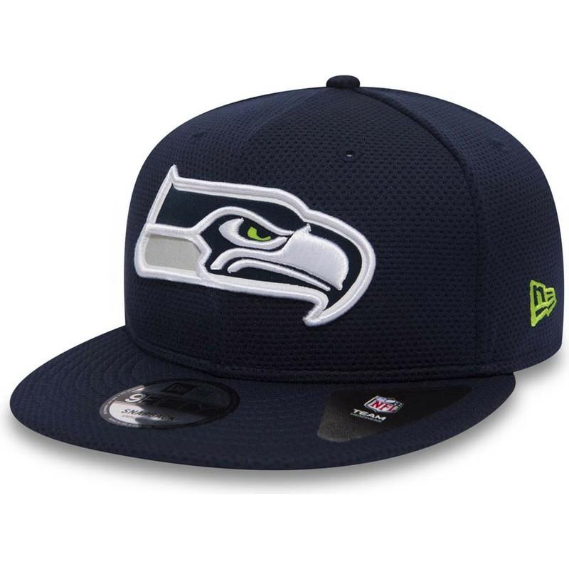 e8017ed4a84 New Era Flat Brim 9FIFTY Mesh Seattle Seahawks NFL Blue Snapback Cap ...