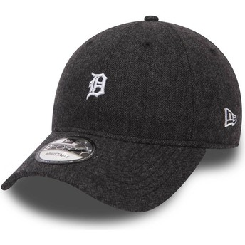 New Era Curved Brim 9FORTY Herringbone Detroit Tigers MLB Black Adjustable Cap