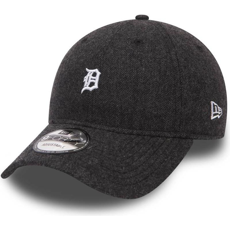 New Era Curved Brim 9FORTY Herringbone Detroit Tigers MLB Black Adjustable  Cap  Shop Online at Caphunters d04899c245f