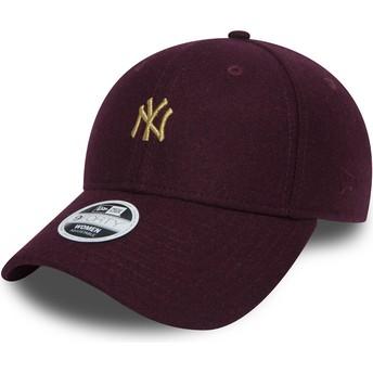 New Era Curved Brim Gold Logo 9FORTY Melton New York Yankees MLB Maroon Adjustable Cap