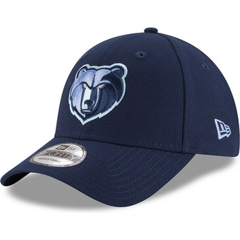 New Era Curved Brim Embroidered Logo9FORTY The League Memphis Grizzlies NBA Blue Adjustable Cap