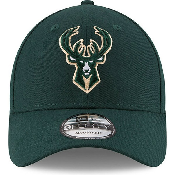new-era-curved-brim-9forty-the-league-milwaukee-bucks-nba-green-adjustable-cap