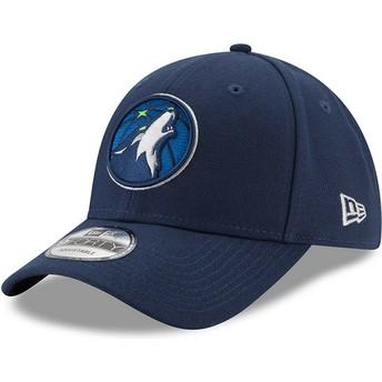 Gorra curva azul marino ajustable 9FORTY The League de Minnesota Timberwolves NBA de New Era