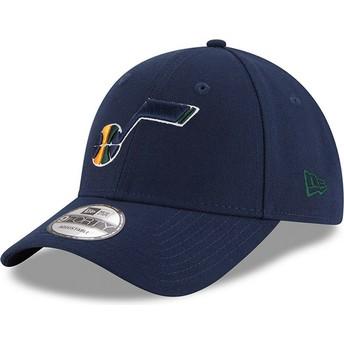 New Era Curved Brim 9FORTY The League Utah Jazz NBA Navy Blue Adjustable Cap