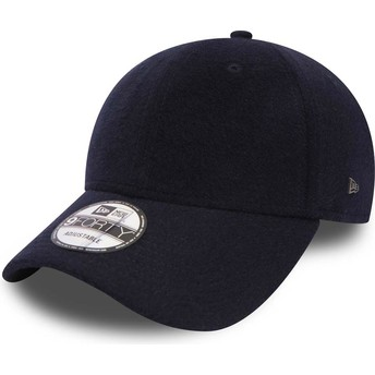 New Era Curved Brim 9FORTY Camel Hair Navy Blue Adjustable Cap