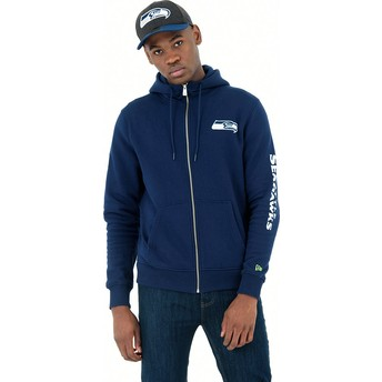 New Era Full Zipped Hoody Seattle Seahawks NFL Blue Sweatshirt