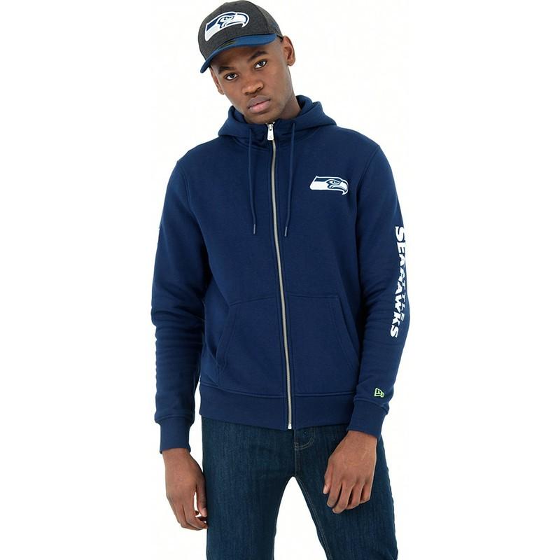 cheaper 611eb 61fec New Era Full Zipped Hoody Seattle Seahawks NFL Blue Sweatshirt