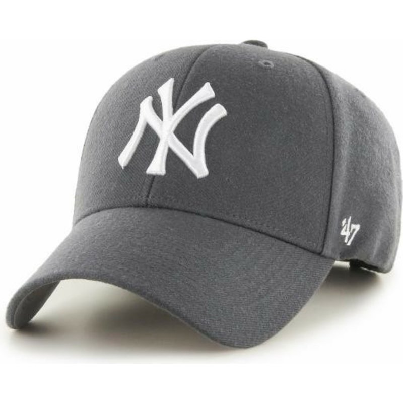 47 Brand Curved Brim New York Yankees MLB MVP Dark Grey Cap  Shop ... 2e303e4c7b7