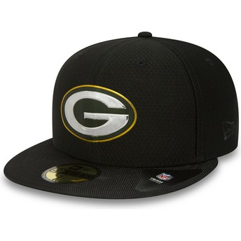 New Era Flat Brim 59FIFTY Black Coll Green Bay Packers NFL Black Fitted Cap