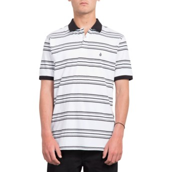 Volcom White Wowzer Stripe White Polo