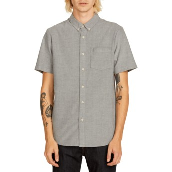 Volcom Black Everett Oxford Grey Short Sleeve Shirt