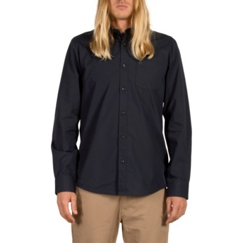 Volcom Navy Everett Solid Navy Blue Long Sleeve Shirt