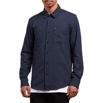 Volcom Midnight Blue Caden Solid Navy Blue Long Sleeve Shirt