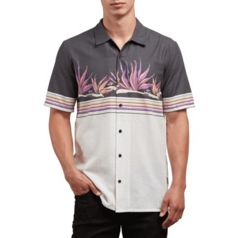Volcom White Flash Algar Black and White Short Sleeve Shirt