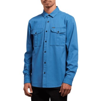 Volcom Used Blue Huckster Blue Long Sleeve Shirt