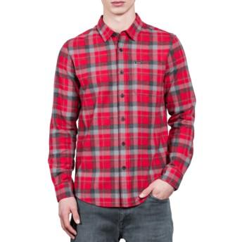 Volcom Deep Red Caden Red Long Sleeve Check Shirt