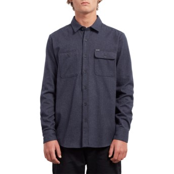 Volcom Midnight Blue Hickson Update Navy Blue Long Sleeve Shirt