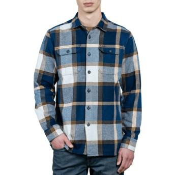Volcom Indigo Heavy Daze Navy Blue Long Sleeve Check Shirt