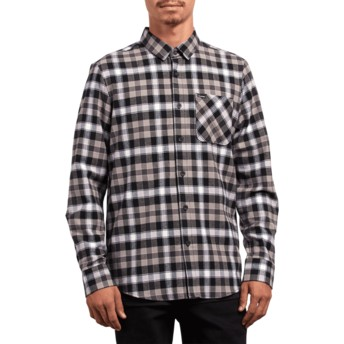 Volcom Black Caden Plaid Black Long Sleeve Check Shirt