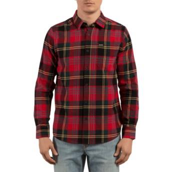 Volcom True Red Caden Red Long Sleeve Check Shirt