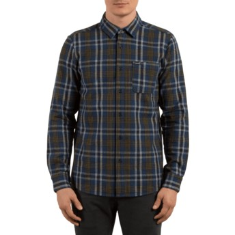 Volcom Smokey Blue Marcos Navy Blue Long Sleeve Check Shirt