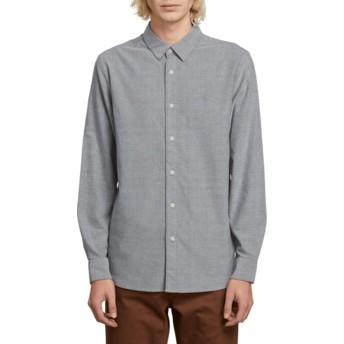 Volcom Black Oxford Stretch Grey Long Sleeve Shirt