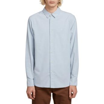Volcom Wrecked Indigo Oxford Stretch Blue Long Sleeve Shirt