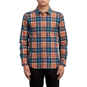 Volcom Scream Red Hayden Orange and Blue Long Sleeve Check Shirt