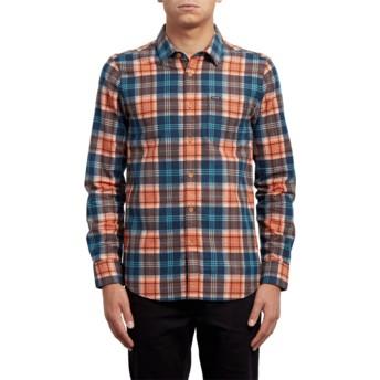 Volcom Scream Red Hayden Orange and Blue Long Sleeve Check Shirt