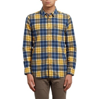 Volcom Tangerine Hayden Yellow and Blue Long Sleeve Check Shirt