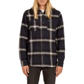 Volcom Indigo Lexicon Navy Blue Long Sleeve Check Shirt