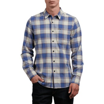 Volcom Clay Caden Grey and Blue Long Sleeve Check Shirt