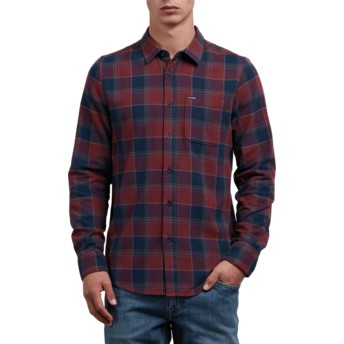 Volcom Crimson Caden Navy Blue and Red Long Sleeve Check Shirt