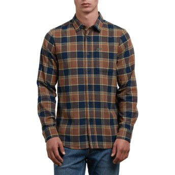 Volcom Indigo Caden Brown and Navy Blue Long Sleeve Check Shirt