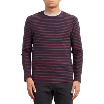Volcom Navy Slubstance Navy Blue and Red Sweater