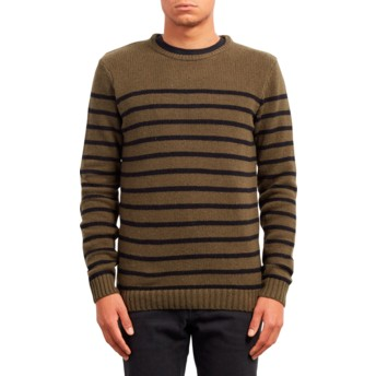 Volcom Military Edmonder Striped Green Sweater