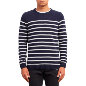 Volcom Navy Edmonder Striped Navy Blue Sweater